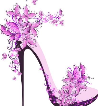 Free Creative Violet Floral High Heeled Shoes Vector