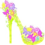 Creative Yellow Floral High-Heeled Shoes Vector
