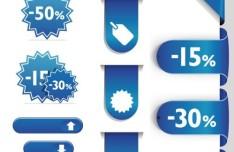 Elegant Blue Sales and Discounts Labels Vector 02