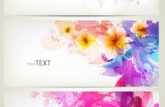 Elegant & Clean Vector Banner with Colored Flowers 02