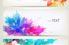 Elegant & Clean Vector Banner with Colored Flowers 03
