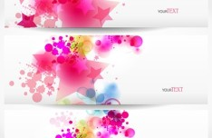 Elegant & Clean Vector Banner with Colored Flowers 04