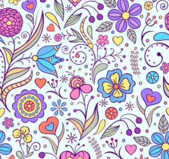 Free Elegant Hand Drawn Flowers Pattern Vector 02 » TitanUI