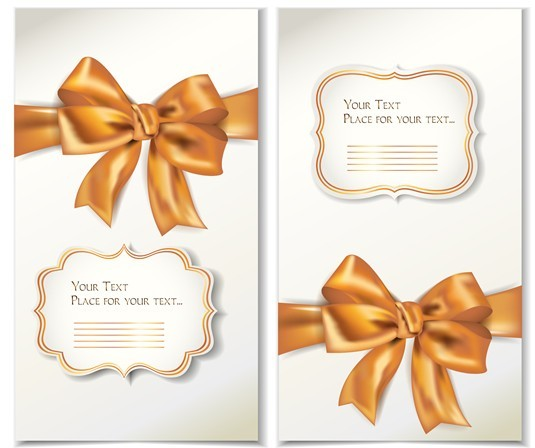 free vector elegant gift card with bow design template 02 titanui. Black Bedroom Furniture Sets. Home Design Ideas