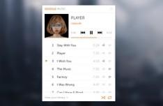 Mini Google Music Player Interface PSD