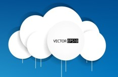 White Paper Cloud Label Vector