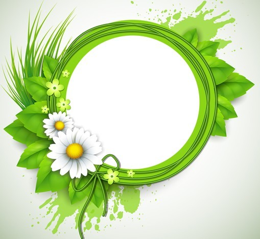 free green floral frame -#main