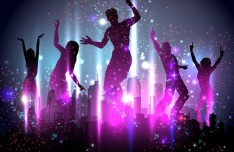 Vector Dancing People Shining Background 03