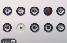 Music Player Control Button Set PSD