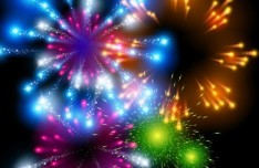 Colorful Fireworks Vector Background 02