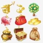 Vector Gold Coin and Treasure Icons