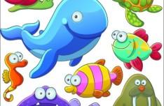 Cute Cartoon Marine Life Animals Vector Illustration 03