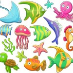 Cute Cartoon Marine Life Animals Vector Illustration 04