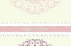 Retro Pink Invitation Card Cover Design Elements Vector 04