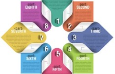 Colored Number Origami Vector Labels 06