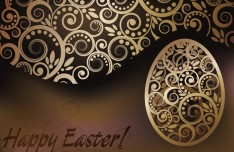 High Quality Golden Happy Easter Vector Background 03