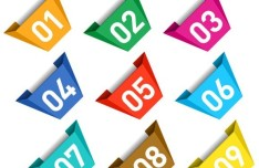 Colored Data Origami Vector Labels For Infographic 05