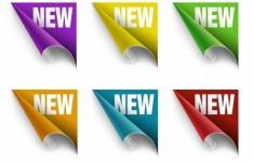 Set Of Vector Colorful NEW Corner Labels