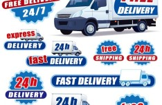 Vector Free Delivery and Shipping Car Stickers