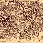 Vintage Dark Hand Drawn Vector Flowers 01