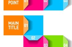 Colorful and Clean Vector Number Origami Labels 02