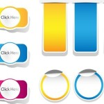 Set Of Colored Vector Click Here Paper Labels 01