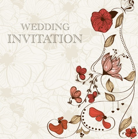 Free Vintage Wedding Invitation Card With Floral