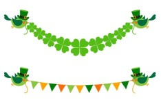 St.Patrick's Day Green Bird and Clover Banners Vector