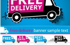 Vector Free Delivery Banners and Signals