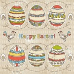 Colorful Easter Egg Background Vector 02