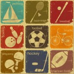 Set Of Vector Retro Vintage Sports Icons