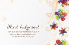 Hand Drawn Colorful Spring Flower Background Vector 01
