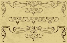 Vintage Line Art Floral Borders Vector 02
