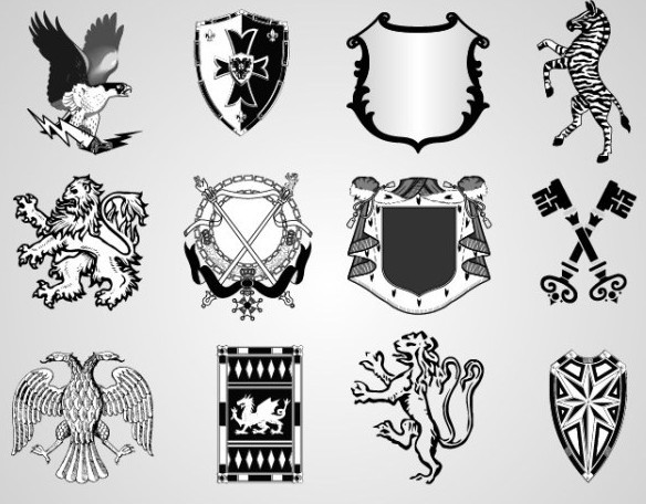 White Vector Shield Shapes