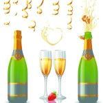 Vector Glossy Wine and Wineglass Elements 03