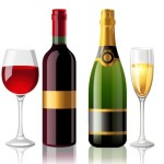 Vector Glossy Wine and Wineglass Elements 05