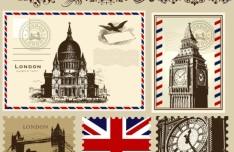 Vector Stamp and Postcard Set Of London Symbols 02