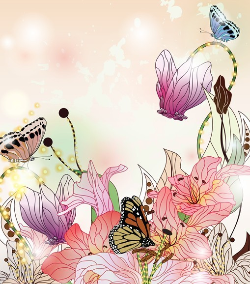 Free Classical Watercolor Painting Flower And Butterfly