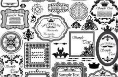 Vector Vintage Floral Border and Corner Design Elements 04