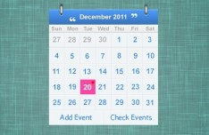 Simple Blue PSD Calendar Widget