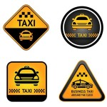 Vector Yellow Cab Sticker Labels 03