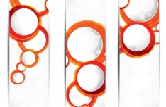 Vector Vertical Banners with Orange Circular Backgrounds