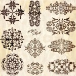 Set of Vector Vintage Brown Floral Borders and Frames 01