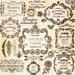 Set of Vector Vintage Brown Floral Borders and Frames 03