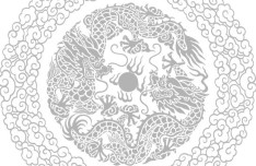 Clean Chinese Double Dragon Play Bead Pattern Background