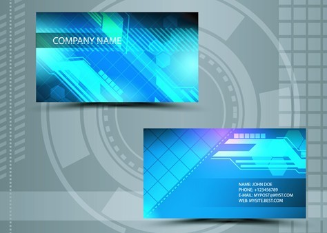 Free Clean Technology Business Card Design Template Vector 04 ...