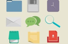 Simple Flat Web Icon Pack PSD