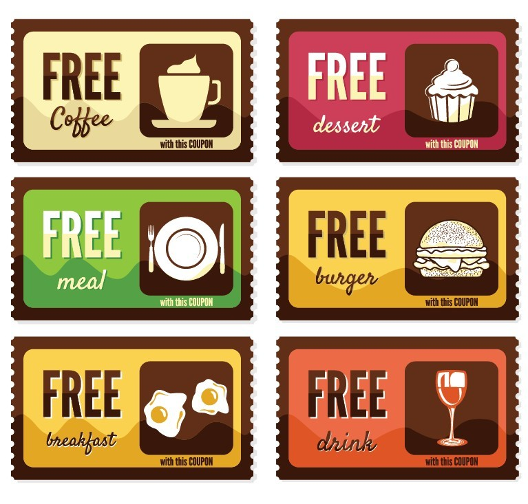 free meal coupon template free vintage free food coupon sticker labels vector titanui