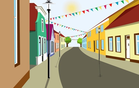 Free Cartoon City Streets And Buildings Vector