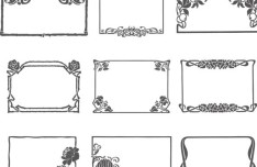 Simple Sketch Floral Vector Frame 01